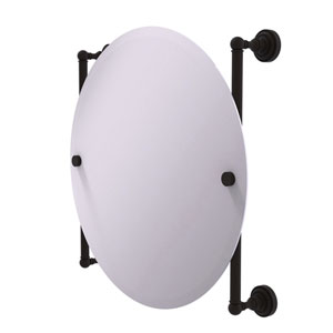 Dottingham Oil Rubbed Bronze 22-Inch Round Frameless Rail Mounted Mirror