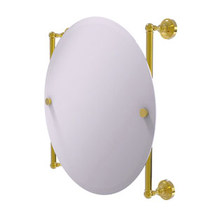 Dottingham Polished Brass 22-Inch Round Frameless Rail Mounted Mirror