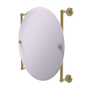 Dottingham Satin Brass 22-Inch Round Frameless Rail Mounted Mirror