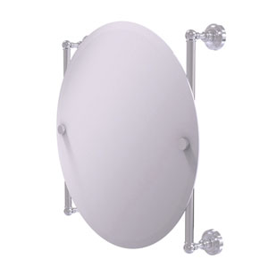 Dottingham Satin Chrome 22-Inch Round Frameless Rail Mounted Mirror