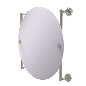 Dottingham Satin Nickel 22-Inch Round Frameless Rail Mounted Mirror