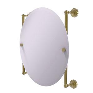 Dottingham Unlacquered Brass 22-Inch Round Frameless Rail Mounted Mirror