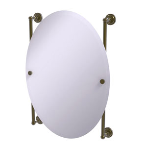 Dottingham Antique Brass 21-Inch Oval Frameless Rail Mounted Mirror