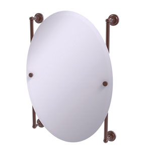 Dottingham Antique Copper 21-Inch Oval Frameless Rail Mounted Mirror