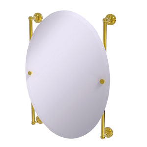 Dottingham Polished Brass 21-Inch Oval Frameless Rail Mounted Mirror