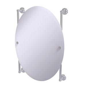 Dottingham Satin Chrome 21-Inch Oval Frameless Rail Mounted Mirror