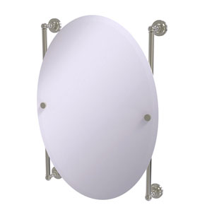 Dottingham Satin Nickel 21-Inch Oval Frameless Rail Mounted Mirror