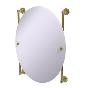 Dottingham Unlacquered Brass 21-Inch Oval Frameless Rail Mounted Mirror