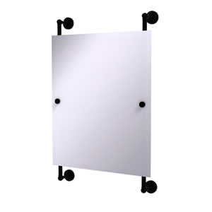 Dottingham Matte Black 21-Inch Rectangular Frameless Rail Mounted Mirror