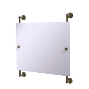 Dottingham Antique Brass 26-Inch Landscape Rectangular Frameless Rail Mounted Mirror