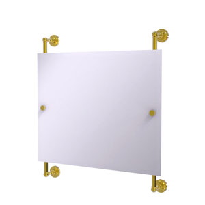 Dottingham Polished Brass 26-Inch Landscape Rectangular Frameless Rail Mounted Mirror