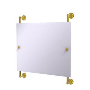 Dottingham Polished Brass 26-Inch Landscape Rectangular Frameless Rail Mounted Mirror