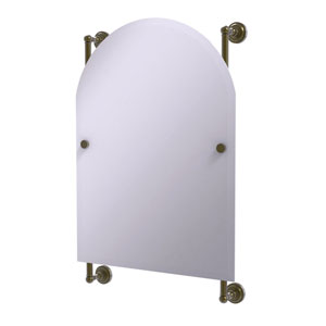 Dottingham Antique Brass 21-Inch Arched Top Frameless Rail Mounted Mirror