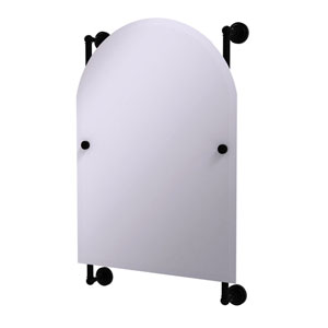 Dottingham Matte Black 21-Inch Arched Top Frameless Rail Mounted Mirror