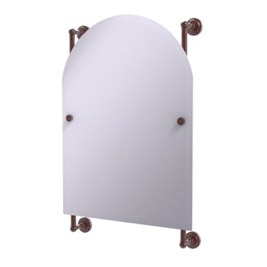 Dottingham Antique Copper 21-Inch Arched Top Frameless Rail Mounted Mirror