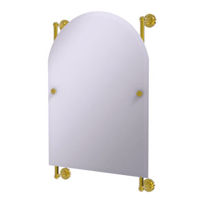 Dottingham Polished Brass 21-Inch Arched Top Frameless Rail Mounted Mirror