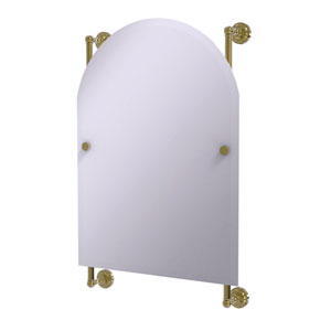 Dottingham Unlacquered Brass 21-Inch Arched Top Frameless Rail Mounted Mirror