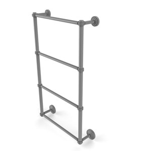 Dottingham Matte Gray 30-Inch Four Tier Ladder Towel Bar with Groovy Detail