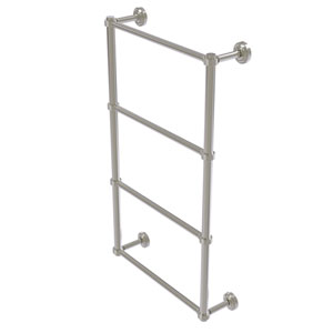 Dottingham Satin Nickel 30-Inch Four Tier Ladder Towel Bar with Groovy Detail