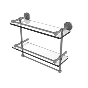 Dottingham Matte Gray 16-Inch Double Glass Shelf with Towel Bar