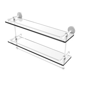 Dottingham Matte White 22-Inch Double Glass Shelf with Towel Bar