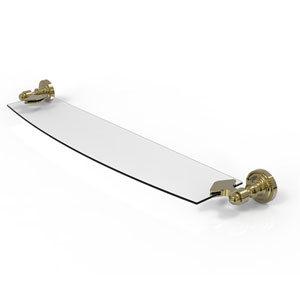 Dottingham Unlacquered Brass 18-Inch Glass Shelf