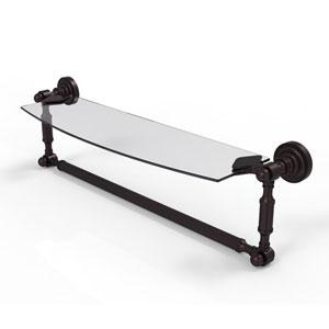 Dottingham Antique Bronze 18-Inch Glass Vanity Shelf with Integrated Towel Bar