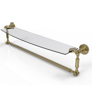 Dottingham Unlacquered Brass 24-Inch Glass Vanity Shelf with Integrated Towel Bar
