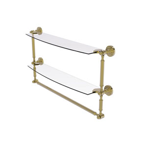 Dottingham Unlacquered Brass 24-Inch Two Tiered Glass Shelf with Integrated Towel Bar