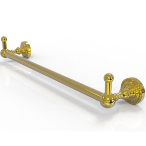 Dottingham Polished Brass 30-Inch Towel Bar with Integrated Hooks