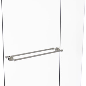Dottingham Satin Nickel 30-Inch Back to Back Shower Door Towel Bar