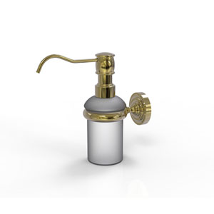 Dottingham Unlacquered Brass Three-Inch Wall Mounted Soap Dispenser