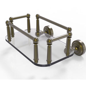 Dottingham Antique Brass Eight-Inch Wall Mounted Glass Guest Towel Tray