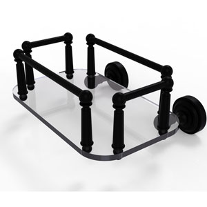 Dottingham Matte Black Eight-Inch Wall Mounted Glass Guest Towel Tray