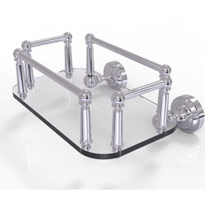 Dottingham Polished Chrome Eight-Inch Wall Mounted Glass Guest Towel Tray