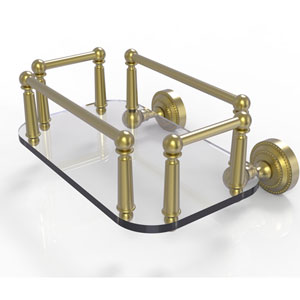 Dottingham Satin Brass Eight-Inch Wall Mounted Glass Guest Towel Tray