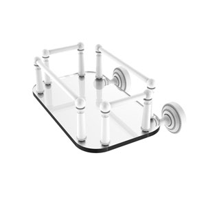 Dottingham Matte White Eight-Inch Wall Mounted Glass Guest Towel Tray