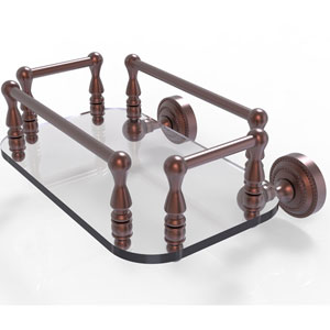 Dottingham Antique Copper Eight-Inch Wall Mounted Glass Guest Towel Tray