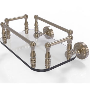 Dottingham Antique Pewter Eight-Inch Wall Mounted Glass Guest Towel Tray