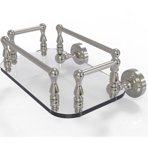 Dottingham Satin Nickel Eight-Inch Wall Mounted Glass Guest Towel Tray