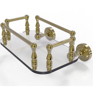 Dottingham Unlacquered Brass Eight-Inch Wall Mounted Glass Guest Towel Tray