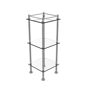 Matte Gray 14-Inch Three-Tier Etagere with Shelves