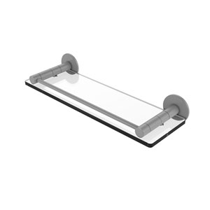 Fresno Matte Gray 16-Inch Glass Shelf with Vanity Rail