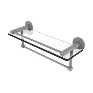 Fresno Matte Gray 16-Inch Glass Shelf with Vanity Rail and Integrated Towel Bar