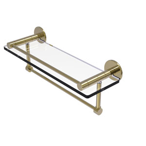 Fresno Unlacquered Brass 16-Inch Glass Shelf with Vanity Rail and Integrated Towel Bar
