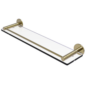Fresno Unlacquered Brass 22-Inch Glass Shelf with Vanity Rail