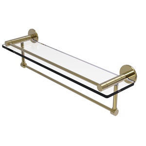 Fresno Unlacquered Brass 22-Inch Glass Shelf with Vanity Rail and Integrated Towel Bar