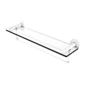 Fresno Matte White 22-Inch Glass Shelf with Vanity Rail and Integrated Towel Bar