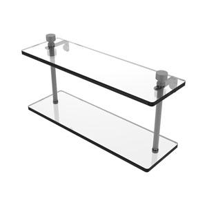 Foxtrot Matte Gray 16-Inch Two Tiered Glass Shelf