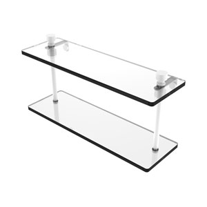 Foxtrot Matte White 16-Inch Two Tiered Glass Shelf